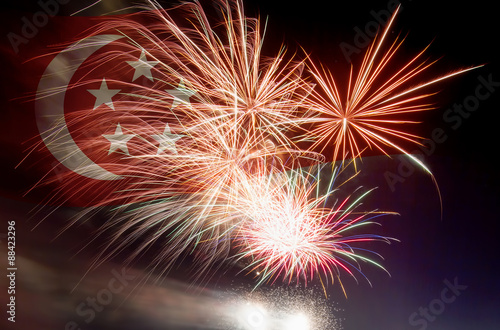 Singapore Flag with Fireworks Poster
