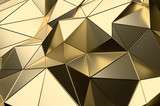 Fototapety Abstract 3D Rendering of Gold Low Poly Surface.