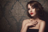 Beautiful woman with red lips - 88440466