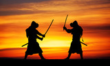 Silhouette of two samurais in duel.