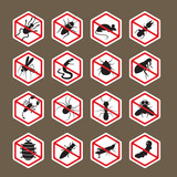 Pests, Insects, Bugs, Prohibition and Repellent Signs, Caution, Warning, Danger, Hazard, Symbol Set, Hexagon Shape