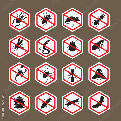Pests Insects Bugs Prohibition And Repellent Signs Caution