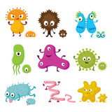 Cute Germ Characters Collection Set, Bacteria, Virus, Microbe, Pathogen