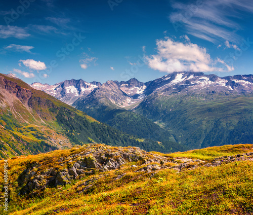 The majestic snow-capped Swiss Alps from the Grimselpass.