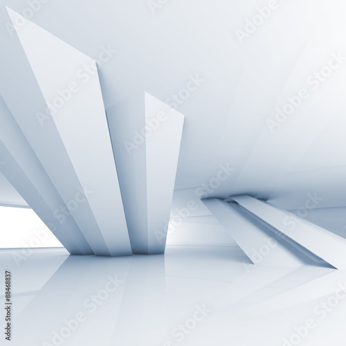 Abstract empty white room interior, 3d render
