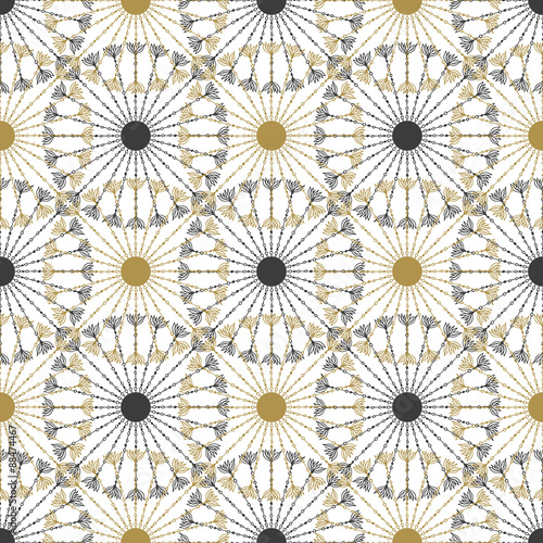 Seamless geometric vintage black and gold circle pattern. Vector texture - 88474467