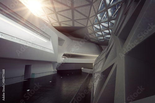 Modern empty atrium or hall interior