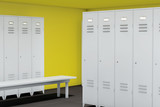 Fototapety Row of Steel Lockers with bench