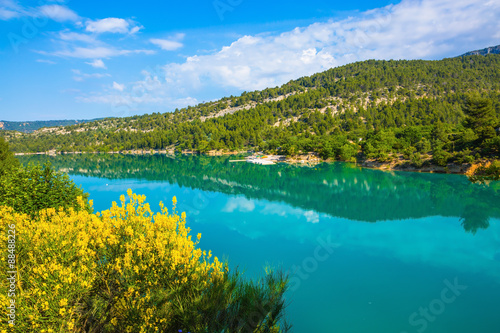 Spring Provence. Azure water reflects the clouds