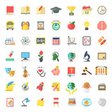 Fototapety Set of modern flat vector icons of school subjects, activities, education and science symbols isolated on white. Concepts for web site, mobile or computer apps, infographics