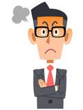 怒る眼鏡をかけたビジネスマン