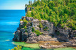 stunning, gorgeous amazing natural rocky beach landscape view and tranquil azure clear water at beautiful, inviting Bruce Peninsula, Ontario