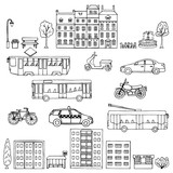 Set urban hand drawn transportation