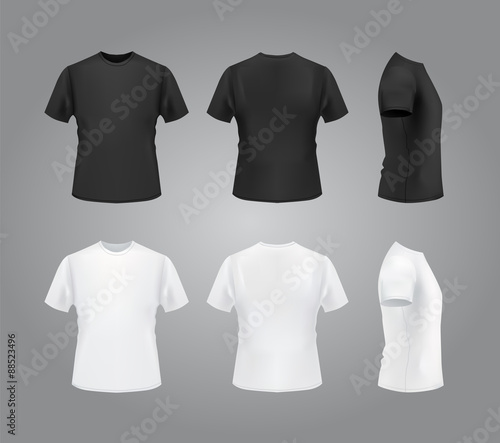 T Shirt Template Front Side Back View Black And White T Shirts