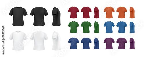 Koszulka szablon kolorowa kolekcja odizolowywająca na białym tle, przód, strona, tylny widok.