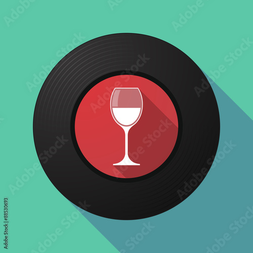 Fototapeta Vinyl record with a cup of wine
