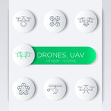 Drone, quadrocopter, uav, copter, linear round modern icons poster