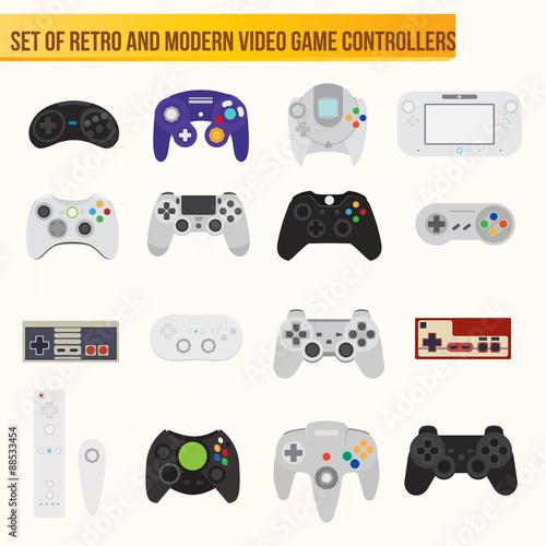 Set of flat vector video game controllers © fischers