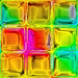 The colorful tiles from the shiny glass blocks with vibrant colors.