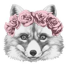 Oryginalny rysunek Fox z kwiatów głowy wieniec. Pojedynczo na białym tle.