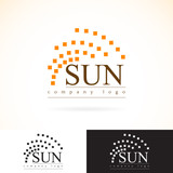 Company identity vector logo design mock up template set. abstract geometry concept sunrays radiance  icon logotype illustration. presented in dark and light colors poster
