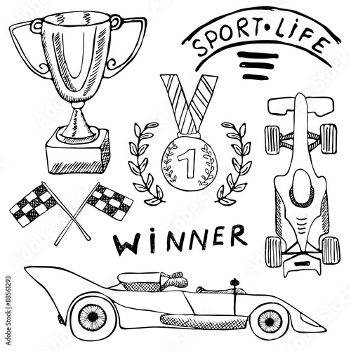 Foto op Plexiglas F1 Sport auto items doodles elements. Hand drawn set with Flag icon. Checkered or racing flags first place prize cup. medal and rasing car, race vector illustration. Drawing doodle collection isolated