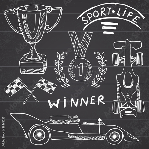 Keuken foto achterwand F1 Sport auto items doodles elements. Hand drawn set with Flag icon. Checkered or racing flags first place prize cup. medal and rasing car, race vector illustration. Drawing doodle collection isolated