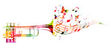Fototapety Colorful trumpet design with butterflies