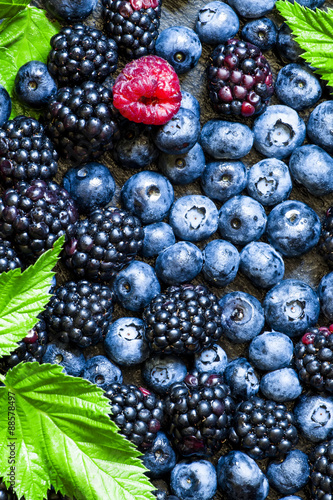 Blackberries, blueberries and raspberries with leaves on a dark