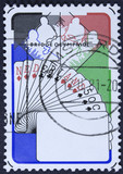 NETHERLANDS - CIRCA 1980: a stamp printed in the Netherlands shows Bridge Players, Netherlands Hand, 6th Bridge Olympiad, Valkenburg, circa 1980  poster