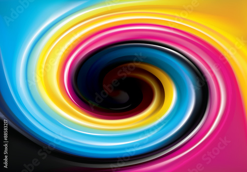 Vector swirl background of primary colors printing process (CMYK © Marina