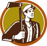 Gardener Landscaper Grub Hoe Woodcut poster