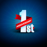 1st Anniversary 3D on blue background
