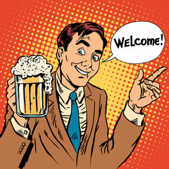 Man welcome to the beer restaurant