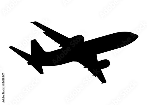 Poster plane silhouette on a white background, vector illustration