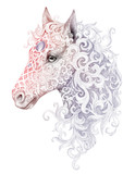 Tattoo, beautiful horse head with a mane - 88635634