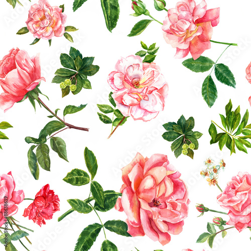 Fototapeta Vintage style pink watercolour roses seamless background pattern