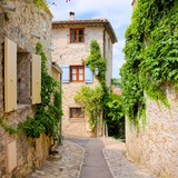 Pretty stone houses in a quaint village in Provence, France