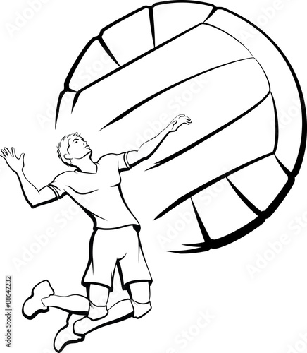 Fototapeta Young man getting ready to spike a volleyball with a stylized volleyball as a background.