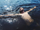 swimmer relaxed on the sea