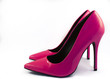 Pair of Pink High Heel Shoes on White Background
