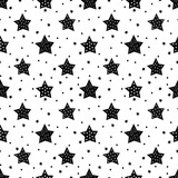 Seamless black and white pattern with cute stars for kids. Baby shower vector background. Child drawing style xmas pattern.