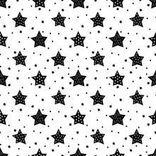 Bezproblemowa czarno-biały wzór z cute gwiazd dla dzieci. Baby shower tło wektor. Dzieci rysunek styl Boże Narodzenie wzór.
