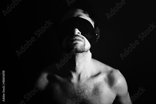Portrait of nude young men blindfolded Poster