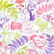 floral pattern watercolor painting in green yellow and purple pink. Abstract flowers ferns swirls and curl designs in pretty random pattern. Hand painted watercolor background. - 88663880