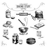 Vector hand drawn set. Vintage Illustration with baking stuff. - 88674059