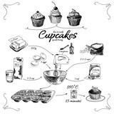 Simple cupcake recipe. Step by step. Hand drawn illustration. - 88674263