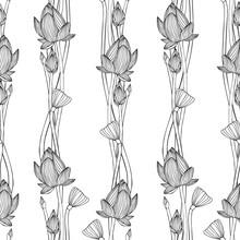 floral vertical stripes. Linear seamless pattern - lotus flower.