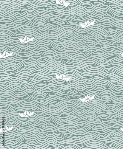 Materiał do szycia Handgezeichnetes Hintergrundmuster mit Wellen und Papierbooten