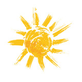 Fototapety Watercolor sun, rays flat icon closeup silhouette
